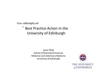 Best Practice Action in the     University of Edinburgh