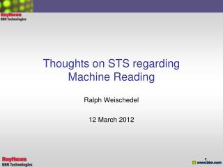 Thoughts on STS regarding Machine Reading