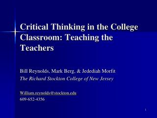 Critical Thinking in the College Classroom: Teaching the Teachers