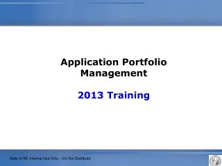 Application Portfolio Management  2013  Training