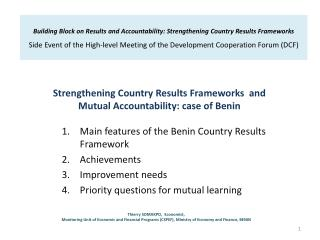 Strengthening Country Results Frameworks  and  Mutual Accountability: case of Benin