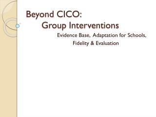 Beyond CICO: Group Interventions