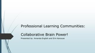 Professional Learning Communities:  Collaborative Brain Power!