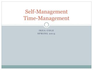 Self-Management Time-Management