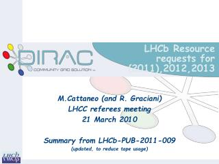 LHCb Resource requests for (2011),2012,2013