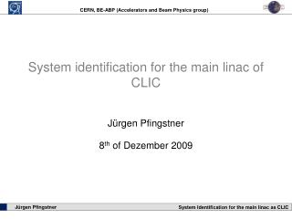 System identification for the main linac of CLIC