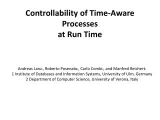 Controllability of Time-Aware Processes at Run Time