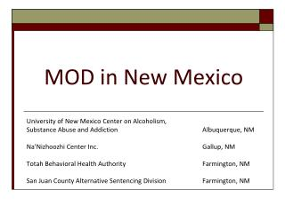 MOD in New Mexico