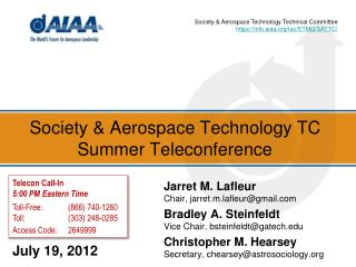 Society & Aerospace Technology TC Summer Teleconference