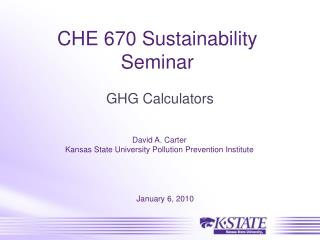 CHE 670 Sustainability Seminar