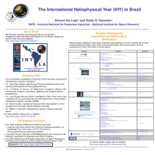 The International Heliophysical Year IHY in Brazil