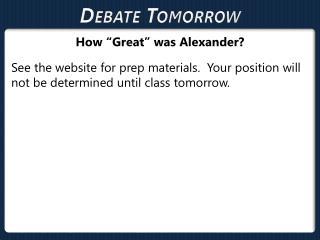 Debate Tomorrow