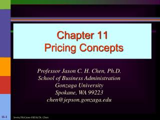 Chapter 11  Pricing Concepts