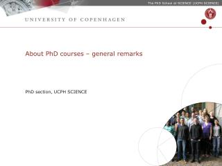 About PhD courses – general remarks