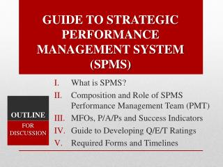 GUIDE TO STRATEGIC PERFORMANCE  MANAGEMENT SYSTEM (SPMS)