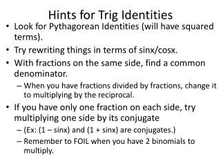 Hints for Trig Identities