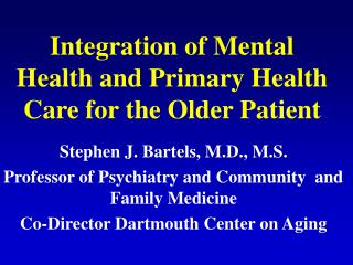Integration of Mental Health and Primary Health Care for the Older Patient