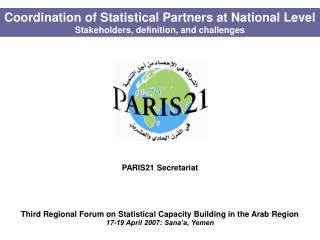 Coordination of Statistical Partners at National Level Stakeholders, definition, and challenges