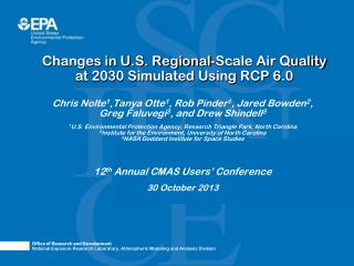 Changes in U.S. Regional-Scale Air Quality  at 2030 Simulated Using RCP 6.0