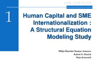 Human Capital and SME Internationalization :   A Structural Equation Modeling Study