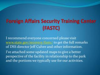 Foreign Affairs Security Training Center  FASTC