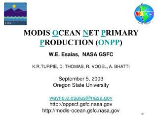 MODIS  O CEAN  N ET  P RIMARY  P RODUCTION ( ONPP )