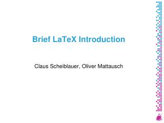 Brief LaTeX Introduction