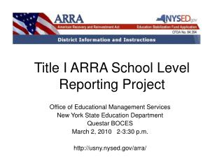 Title I ARRA School Level Reporting Project