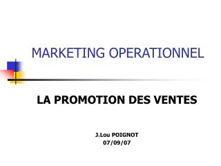 MARKETING OPERATIONNEL