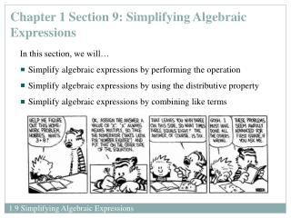 Chapter 1 Section 9: Simplifying Algebraic Expressions