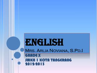 ENGLISH Mrs.  Arlia Noviana ,  S.Pd.I