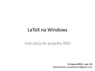 LaTeX  na Windows