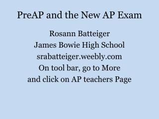 PreAP  and the New AP Exam