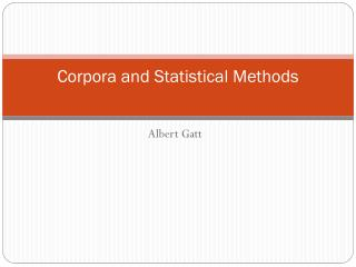 Corpora and Statistical Methods