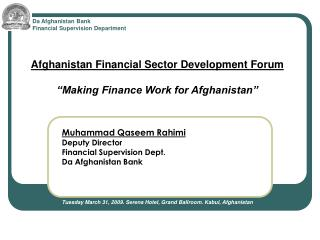 Da Afghanistan Bank Financial Supervision Department