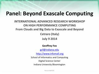 Panel: Beyond Exascale Computing