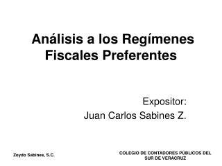 Análisis a los Regímenes Fiscales Preferentes