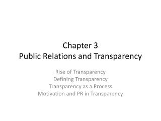 Chapter 3 Public Relations and Transparency