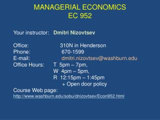 MANAGERIAL ECONOMICS EC 952