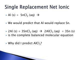 Single Replacement Net Ionic
