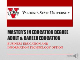 MASTER'S IN EDUCATION DEGREE ADULT & CAREER EDUCATION