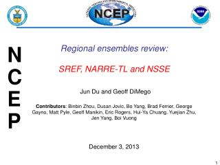 Regional  ensembles review : SREF , NARRE-TL and NSSE Jun Du and Geoff DiMego