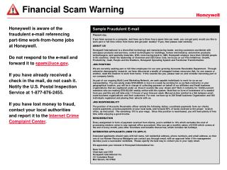 Financial Scam Warning