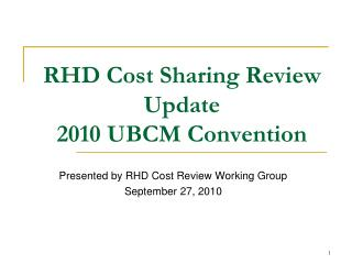RHD Cost Sharing Review  Update 2010 UBCM Convention