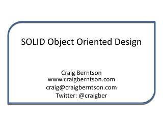 SOLID Object Oriented Design