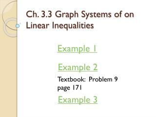 Ch. 3.3 Graph Systems of on Linear Inequalities