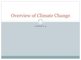 Overview of Climate Change