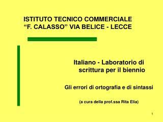 """ISTITUTO TECNICO COMMERCIALE  """"F. CALASSO"""" VIA BELICE - LECCE"""