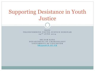 Supporting Desistance in Youth Justice
