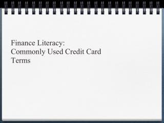 Commonly used credit cared terms